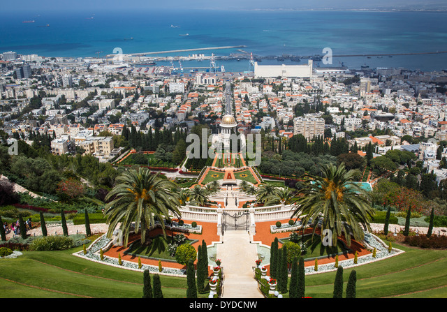 View over the Bahai Gardens, Haifa, Israel. - Stock Image