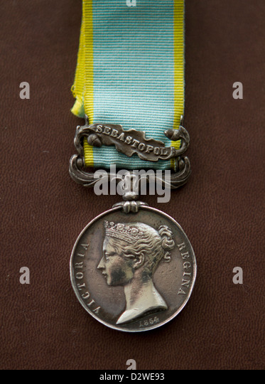 Crimean War Medal with clasp for Sebastopol (original medal), dated 1854 - Stock Image