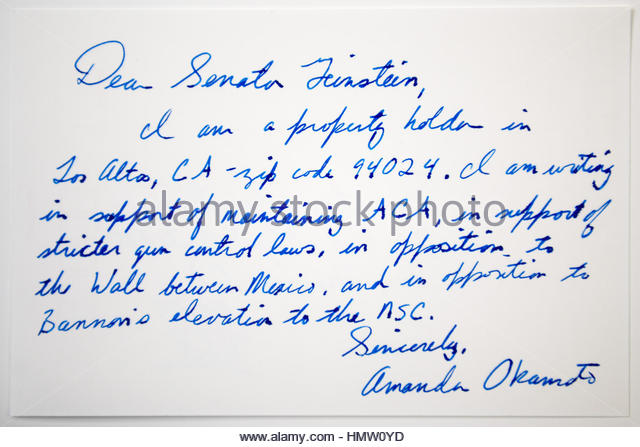 Postcard for Senator Dianne Goldman Berman Feinstein on February 4, 2017 in Tokyo, Japan. A member of the Democratic - Stock Image