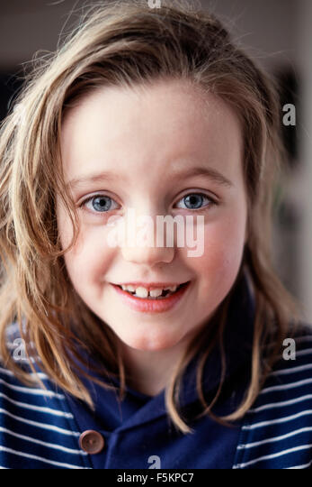 Sweden, Portrait of girl (8-9) - Stock Image