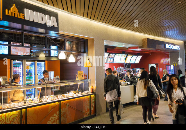 Melbourne Australia Victoria Central Business District CBD Central center centre mall food court restaurant food - Stock Image