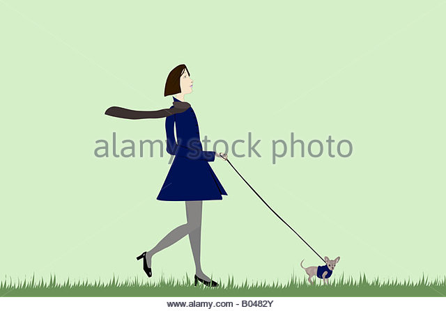Illustration of a woman walking a dog - Stock-Bilder