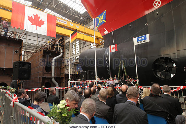 Flensburg, Germany, launched the ConRo ferry Oceanex Connaigra - Stock Image