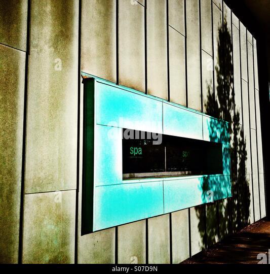 Green oblong window frame for spa - Stock Image