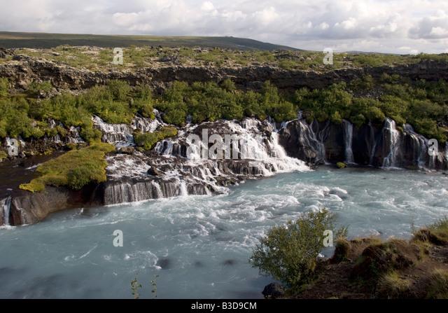 Wild water at Hraunfossar, Iceland - Stock-Bilder