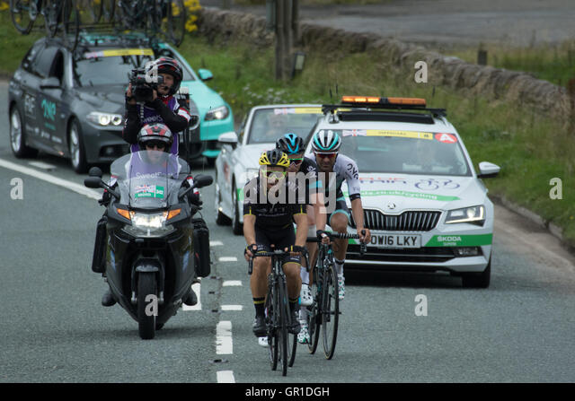 Cheshire, UK. 6th September, 2016. Breakaway group of Graham Briggs, Kristian House and the eventual winner Ian - Stock Image