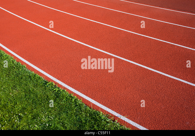 Running track lanes for athletes. - Stock Image