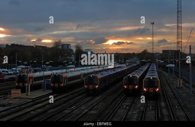 Overhead detail of Clapham Junction, Britains busiest railway station SW of London, England, GB - Stock Image