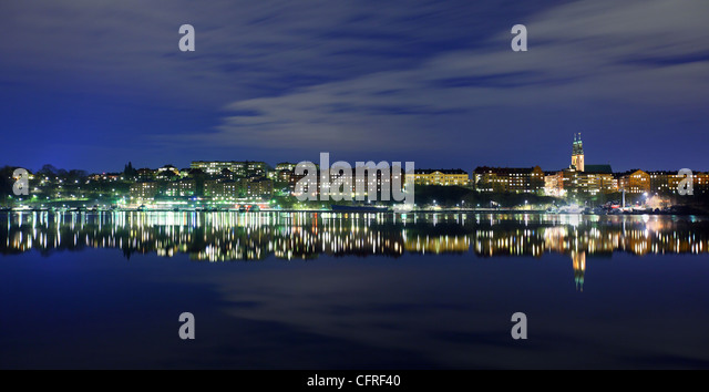 View of Stockholm at night - Stock Image