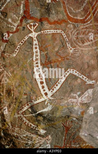 Aboriginal rock art Nourlangie Rock Kakadu Northern Territory - Stock-Bilder