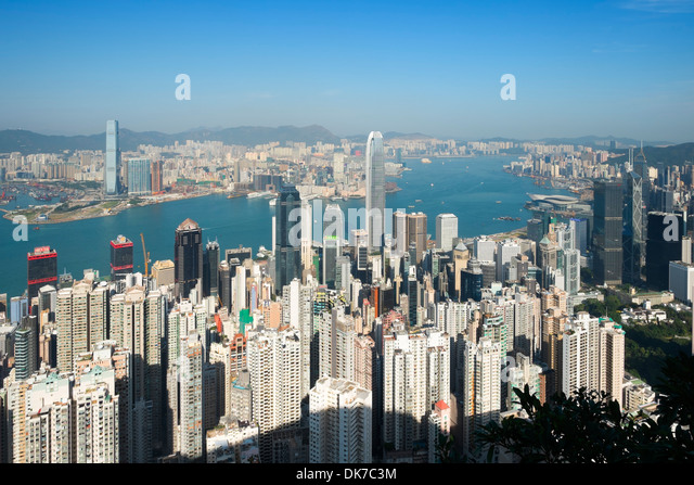 View of skyline of Hong Kong from The Peak - Stock Image