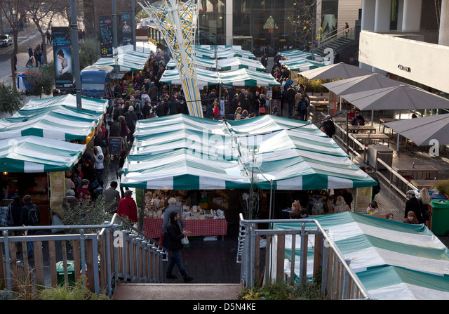 Real Food Market on London's Southbank - Stock Image