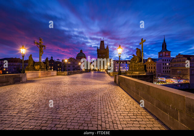 Sunrise in Prague,Czech republic - Stock Image