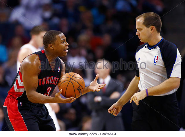 Toronto Raptors point guard Kyle Lowry questions a call by referee John Goble during their NBA basketball game against - Stock Image