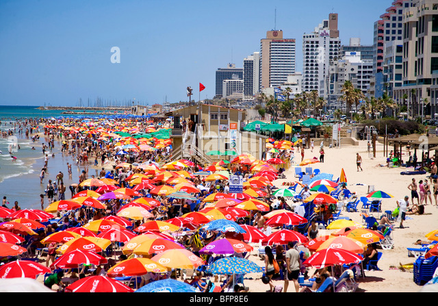 Beach and Mediterranean sea in Tel Aviv, Israel, Middle East - Stock Image