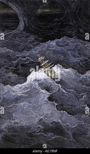 Scene from The Rime of the Ancient Mariner by Samuel Taylor Coleridge - Stock-Bilder