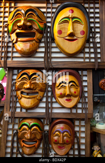 Korean Masks or Tal in Insadong in Seoul South Korea - Stock Image