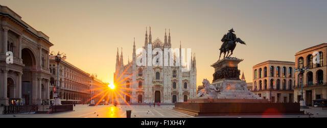 Duomo at sunrise, Milan, Europe. - Stock Image