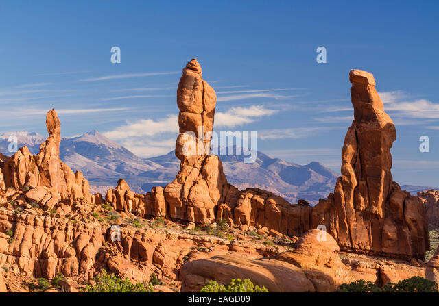Three 'Marching Men' sandstone pillars in front of the La Sal Mountains in the Klondike Bluffs area of Arches - Stock Image