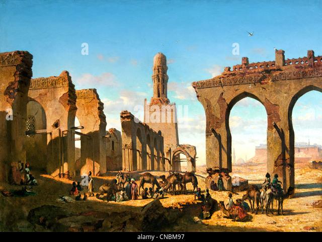Ruins of the Mosque of the Caliph Hakim in Cairo - Ruines de la mosquée du khalife Hakem au Caire Prosper MARILHAT1811 - Stock Image