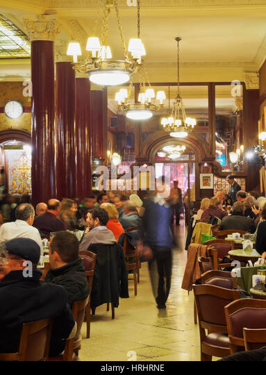 Interior view of the Cafe Tortoni, Avenida de Mayo, Buenos Aires, Buenos Aires Province, Argentina - Stock-Bilder