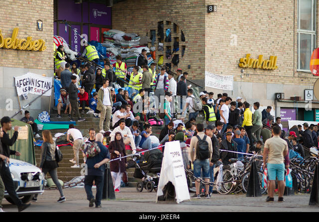 Stockholm, Sweden. 15th Aug, 2017. The sit-in in Stockholm, Sweden to stop deportations to Afghanistan has now been - Stock Image