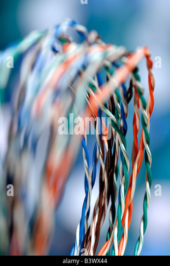Coloured data cables - Stock-Bilder