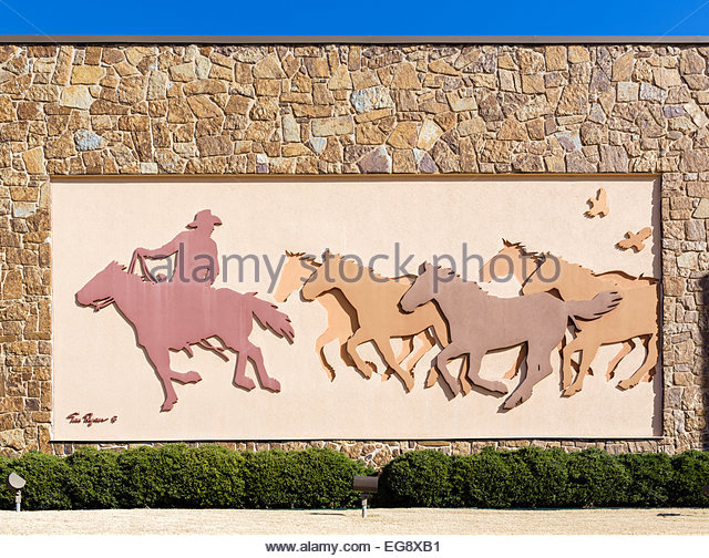 National cowboy and western heritage museum stock photos for Bas relief mural