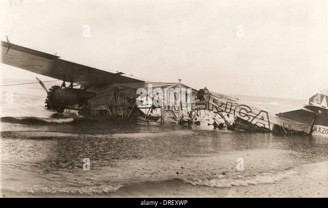 Crashed Fokker C2 named America - Stock Image