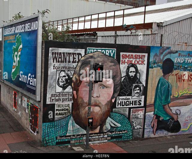 Belfast Falls Rd Republican Mural- Smash H-Block Brendan Hughes Irish Prisoners - Stock Image
