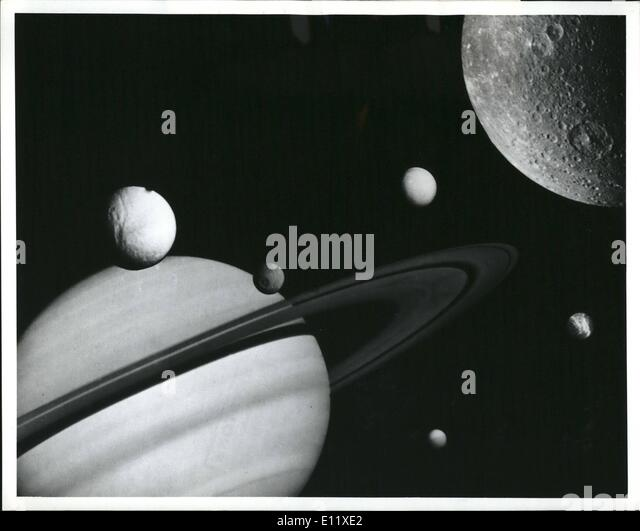 Feb. 02, 1981 - This montage was prepared from images taken by Nasa's voyager I during its flight through the - Stock Image