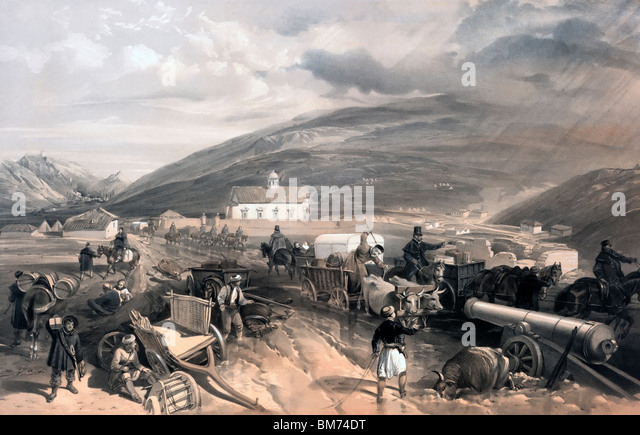 Commissariat difficulties - the road from Balaklava to Sevastopol, at Kadikoi, during the wet weather during the - Stock Image