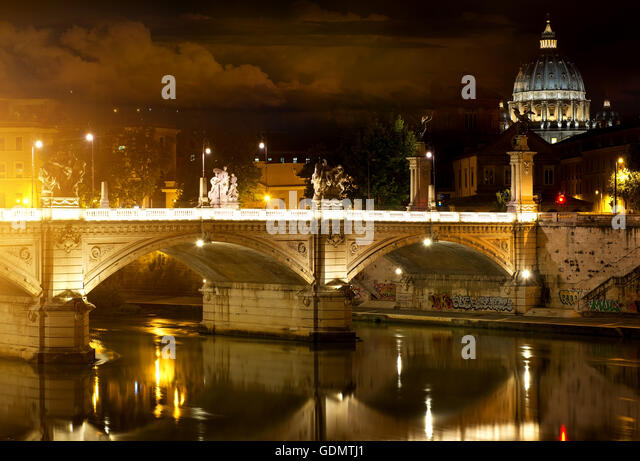 Bridge Vittorio Emanuele and Vatican in Rome, Italy - Stock Image