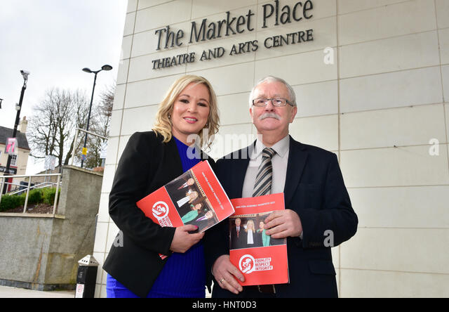 Armagh City, UK. 15th February 2017. Sinn Féin Party Leader Michelle O'Neill with East Antrim MLA Oliver - Stock Image