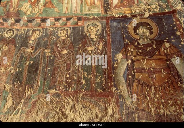 Turkey Cappadocia Goreme Valley National Park Open Air Museum Buckle Church Byzantine fresco detail - Stock Image