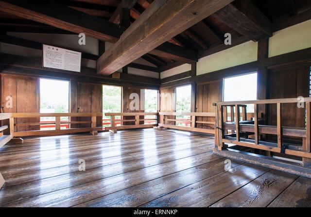 The Moon Viewing Room inside Matsumoto Castle, Nagano, Japan - Stock Image