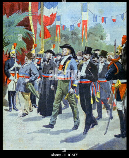 Illustration showing the procession of the Mayors of France, at the Exposition Universelle of 1900. - Stock-Bilder