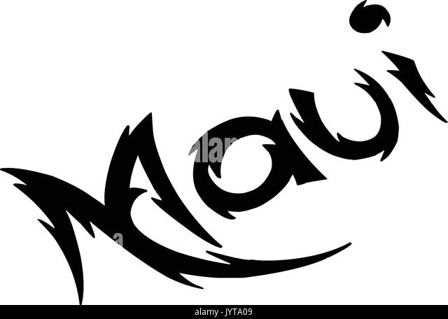 Maui text sign illustration on white background - Stock Image