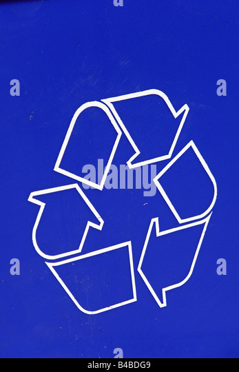 Closeup Detail of the Recycle Symbol on a Blue Recycling Bin Copy Space - Stock Image