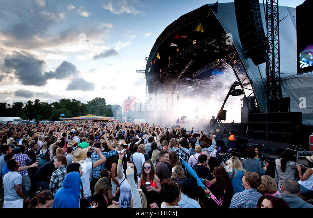 Wide crowd shot of Lovebox festival in Victoria Park London July 2010. - Stock Image