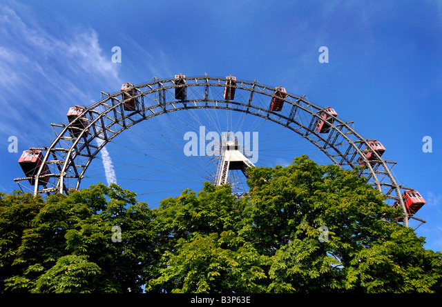 The Prater amusement park big wheel Reisenrad in Vienna Wien Austria - Stock Image