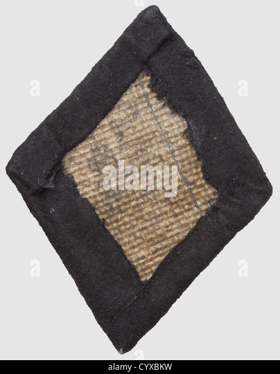 Sleeve-badge for the fencing-jacket, hand-embroidered silver runes, on black cloth, some traces of age, - Stock Image