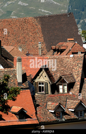 Switzerland Lausanne Old Town rooftops - Stock Image