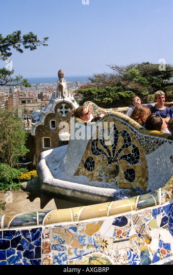 Park Guell in Barcelona. Spain - Stock Image