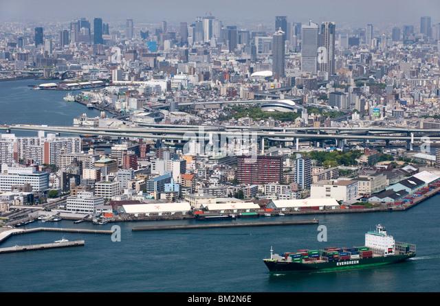 View of central Osaka City from atop the World Trade Center (WTC) on Sakishima Island, Osaka, Japan - Stock Image