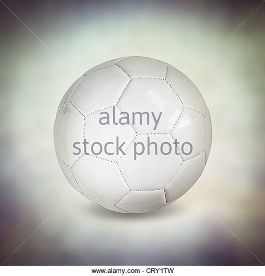 leather white football - Stock Image