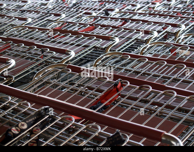 Rows of shopping carts. - Stock Image