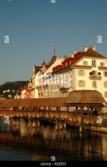 Lucerne luzern Switzerland Chapel Bridge or Kapellbrucke swiss landmark - Stock Image