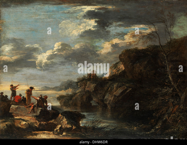 Bandits on a Rocky Coast  - by Salvator Rosa, 1660 - Stock Image