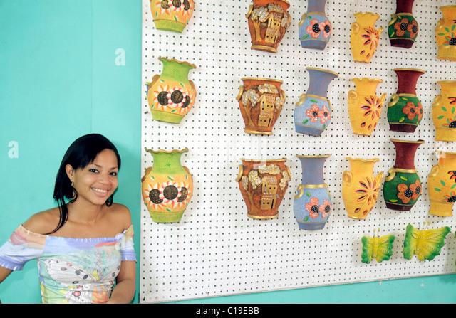 Panama City Panama Panama Viejo Ruinas Panama La Vieja vendor stall market handicrafts shopping souvenirs display - Stock Image